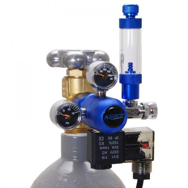 Aquario Redukční ventil CO2 BLUE s jehlovým ventilem a nočním vypínáním