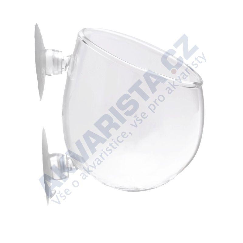 AKVARISTA.cz Skleněný květináček POLKA crystal se dvěmi přísavkami (střední)
